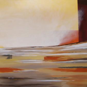 crépuscule embrumé, acrylique, 100/100 cm, 2014 (indisponible)