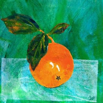 Fruits de saison 3 (orange), Technique mixte, 22 x 22 cm, 2007 (indisponible)