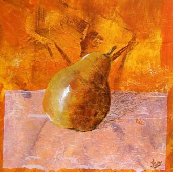 Fruits de saison 4 (poire), Technique mixte, 22 x 22 cm, 2007 (indisponible)