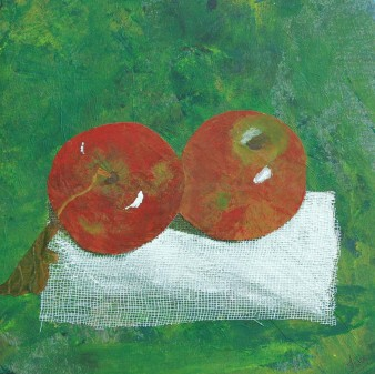 Fruits de saison 6 (pommes rouges), Technique mixte, 22 x 22 cm, 2007 (indisponible)