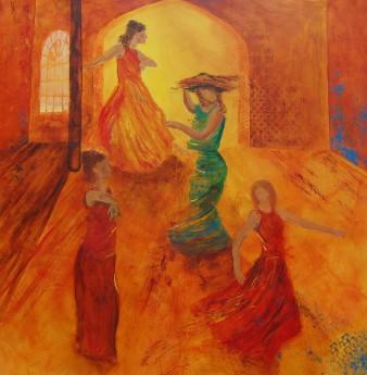 La danse ardente, Acrylique, 61 x 61 cm, 2008 (indisponible)