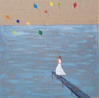 Rêve au petit jour, Technique mixte, 90 x 90 cm, 2009 (indisponible)