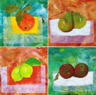 Natures Fruitées, Technique mixte, 25 x 25 cm(x4), 2010, (indisponible)