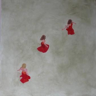 La ronde rouge, Peinture minérale, 80 x 80 cm, 2012 (indisponible)