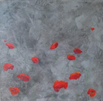 Le rouge et le noir, Peinture minérale, 60 x 60 cm, 2012 (indisponible)