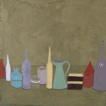 A la manière de Morandi, Peinture minérale, (triptyque), 20 x 20 cm, 2013(indisponible)