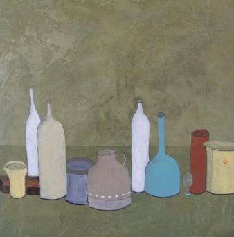 A la manière de Morandi, Peinture minérale, triptyque, 20 x 20cm,2013(indisp)