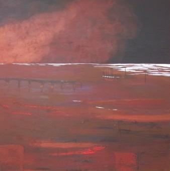Soir de brumes, Technique mixte, 80 x 80 cm, 2013 (disponible)