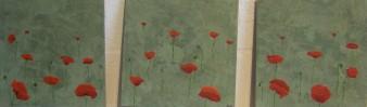 fleurs en liberté, peinrure minérale,3X 20×20 cm, 2014 (indisponible)
