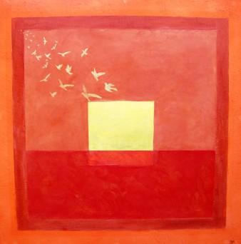 Instant de paix, peinture minérale, 80×80 cm,2014 (indisponible)