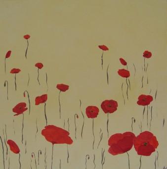 Eté fleuri, peinture minérale, 60 x60 cm, 2015 (disponible)