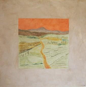 Chemin de traverse,peinture minérale,80x80cm,2017(disponible)