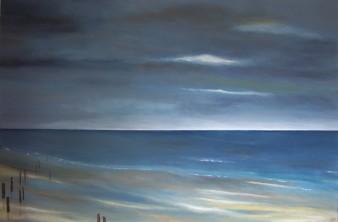 Mer calme,acrylique, 120×80 cm, 2017 (indisponible)