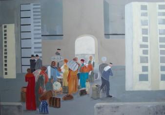 Emigration, peinture acrylique, 100 X 80 cm, 2013 (disponible)